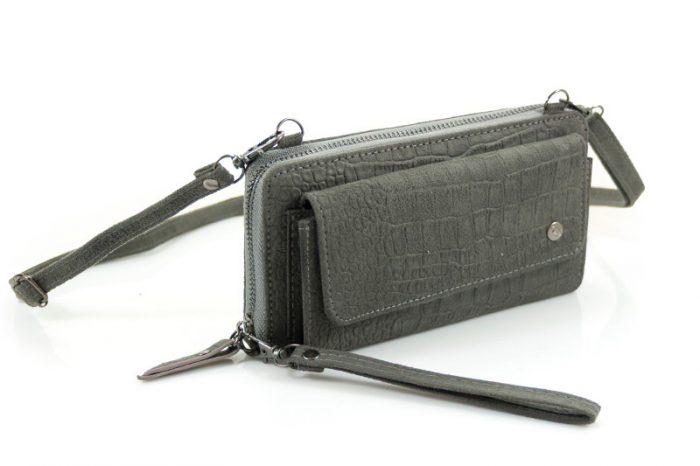 Croco portemonnee Munster met voorvak grijs