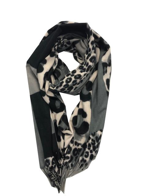 Sjaal dierenprint grijstinten