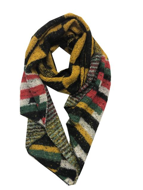 Sjaal gekleurde blokken en streepen geel