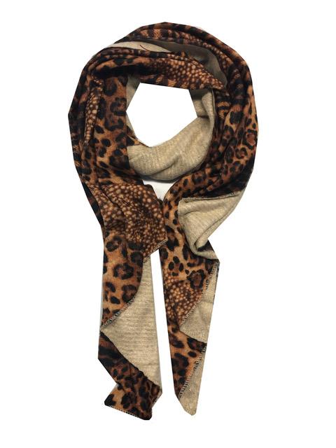 Sjaal dierenprint warme kleur bruin