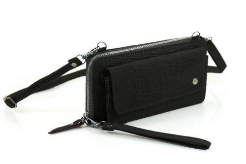 Croco portemonne Munster met voorvak zwart