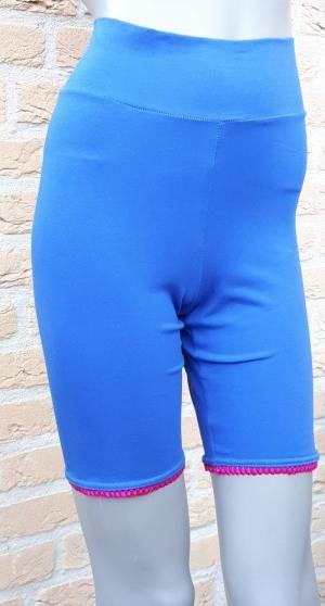 spiekbroekje kobaltblauw met fuchia kantje