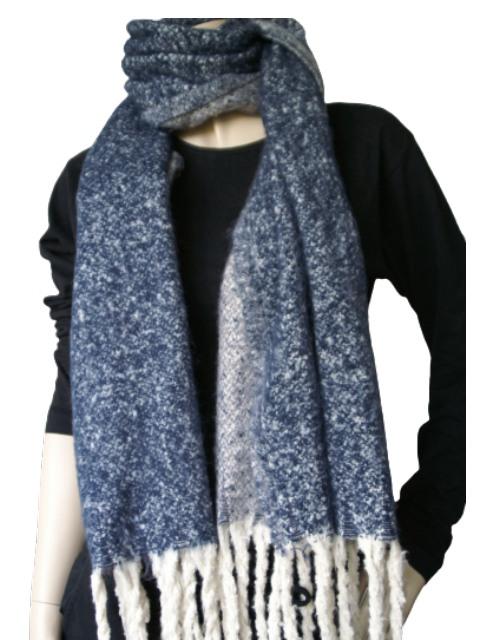 Sjaal blauw gemeleerrd