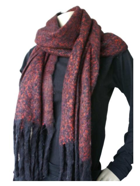 Sjaal donkerrood zwart gemeleerd