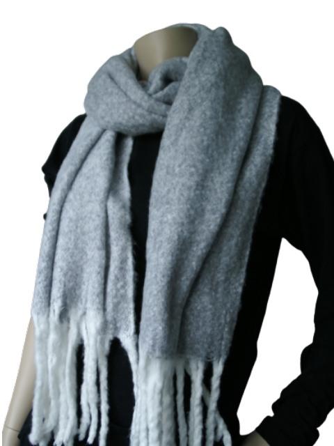 Sjaal grijs wit gemeleerd