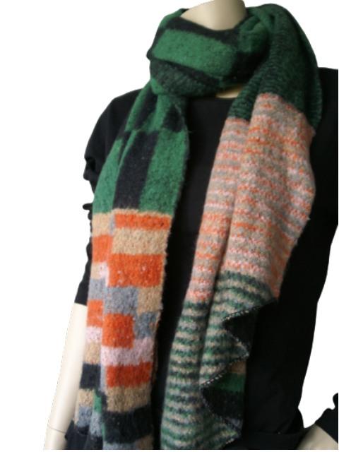 Sjaal groen zwart oranje
