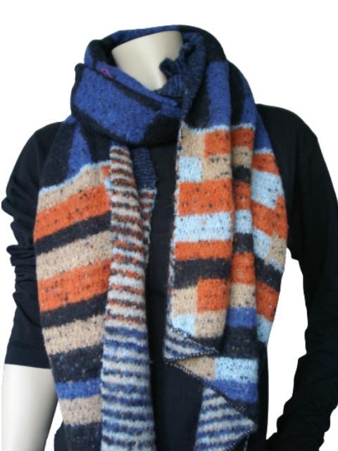 Sjaal oranje zwart blokken en strepen