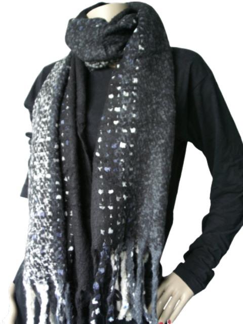 Sjaal zwart wit grijs gemeleerd