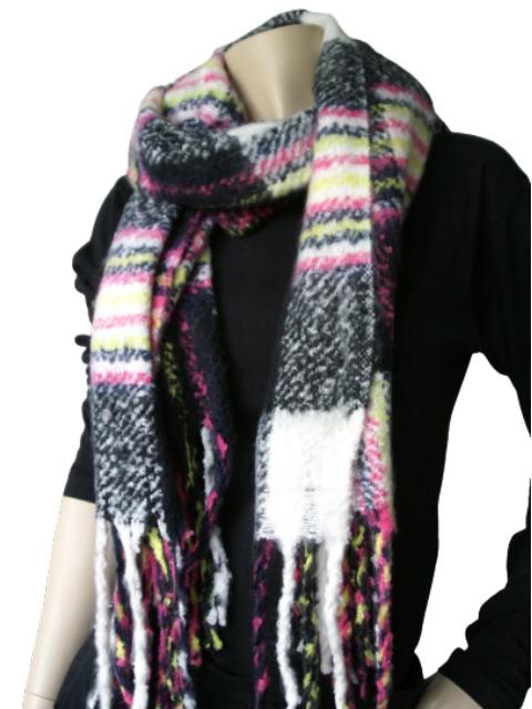 Sjaal zwart wit roze