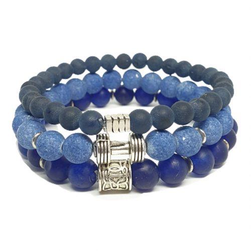 Triple blauwe kralen armbanden set