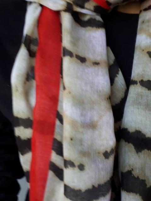 Sjaal bruine zebra met rode streep