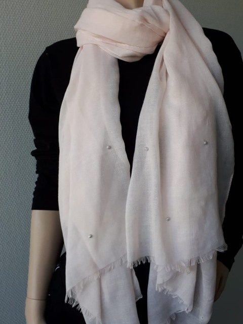 Sjaal licht roze met zilveren bolletjes