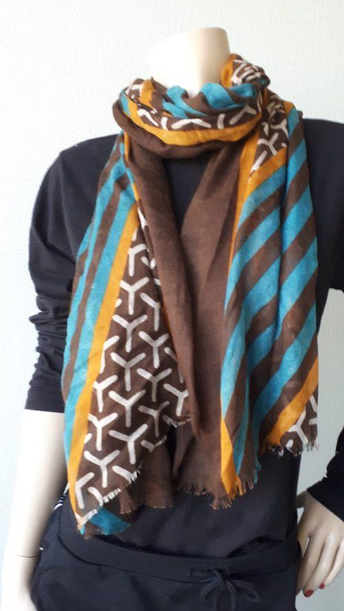 Sjaal retro bruin met aqua